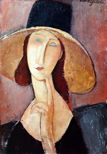 Jeanne Hebuterne with a large hat 1917