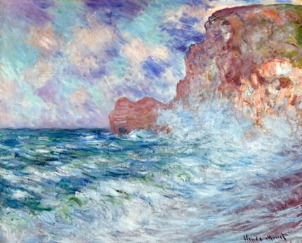 Etretat, Falaise Et Porte D'amont, Grosse Mer