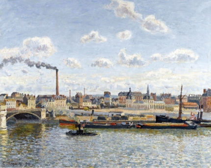 The bridge of Boieldieu and the Orleans station Rouen sunny day 1898