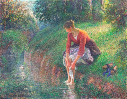 Woman Bathing Her Feet in a Brook