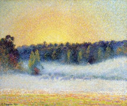 Prairie avec Vaches, Brume, Soleil Couchant à Éragny, 1891