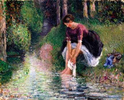 Woman Washing Her Feet in a Brook 1894