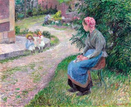 La servante assise dans le jardin d'Eragny 1884