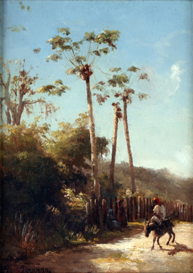 Antilles Landscape, Donkey and Rider on a Path 1856