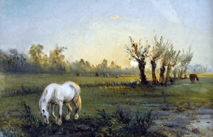 Cheval Blanc Dans Un Pré 1856