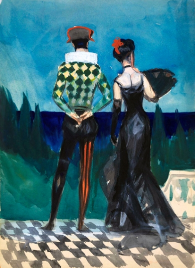 Harlequin and Lady in Evening Dress 1900