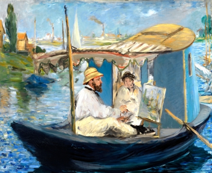 Monet Painting on His Studio Boat 1874