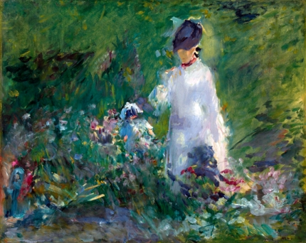Young woman in flowers 1879