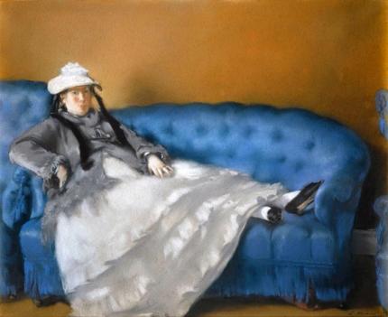 Portrait of Madame Edouard Manet on a blue sofa 1874