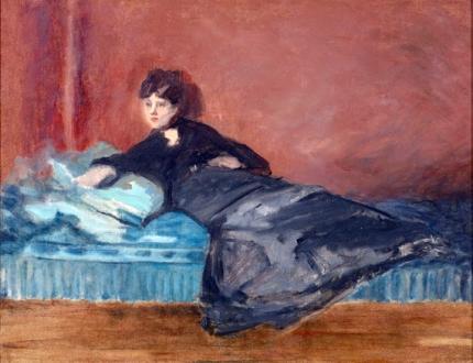 Woman Lying On Sofa 1873