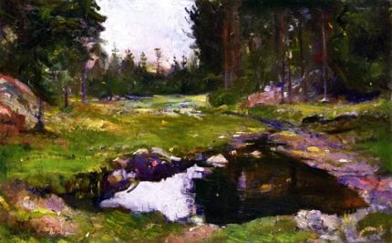 Woodland Landscape With Lake