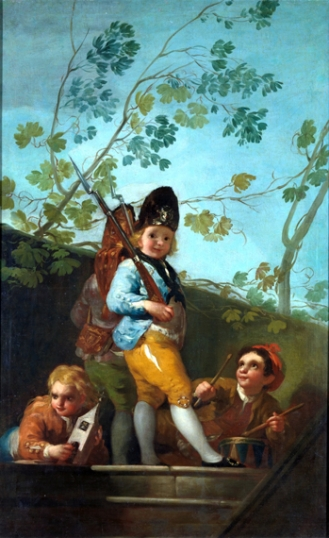 Boys playing soldiers 1779