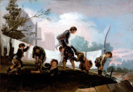 Children playing leapfrog
