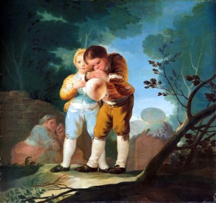 Children inflating a bladder 1777
