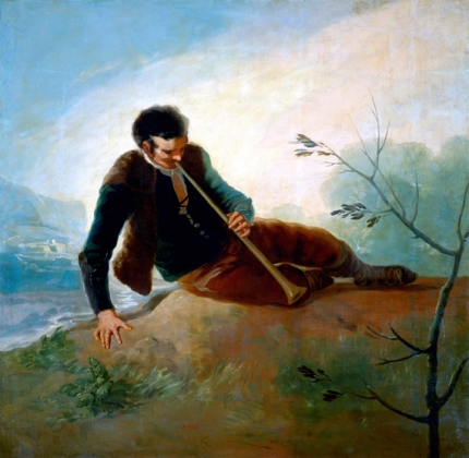 Shepherd playing the dulzaina
