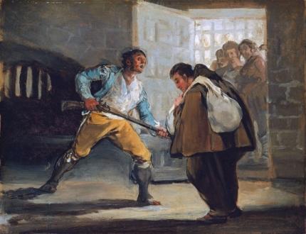 El Maragato Threatens Friar Pedro de Zaldivia with his gun 1806