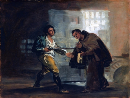 Friar Pedro offers shoes to el Maragato and Prepares to Push Aside his gun 1806