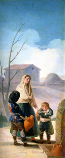 Woman with two boys at the fountain (The poor at the fountain)