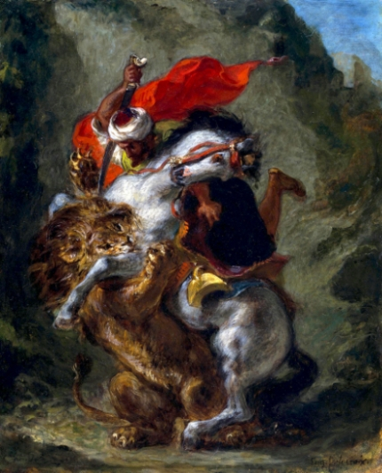 Arab Horseman Attacked by a Lion
