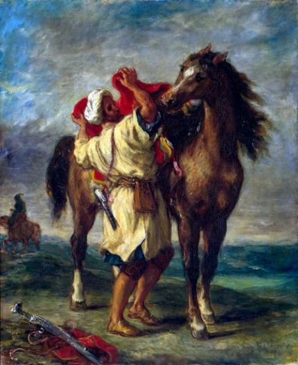 Arab Saddling His Horse 1855