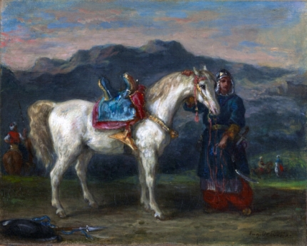 Circassian Holding a Horse by Its Bridle 1858