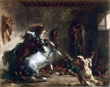 Arab Horses Fighting in a Stable, 1860