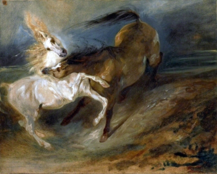 Two Horses Fighting in a Stormy Landscape, Ca. 1828 Copy.png