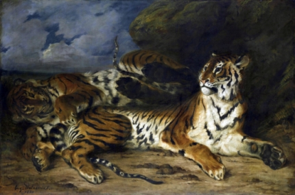 Young Tiger Playing With Its Mother 1830-2