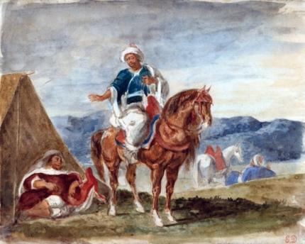 Three Arab Horsemen at an Encampment