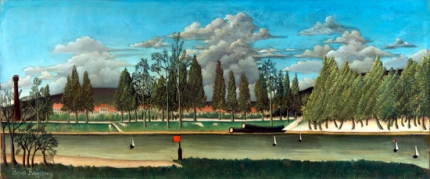 The Canal and Landscape with Tree Trunks