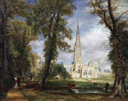 Salisbury Cathedral from the Bishop's Grounds 1826