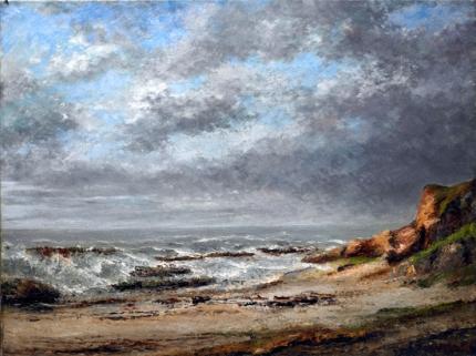 View of a Rough Sea Near a Cliff 1873