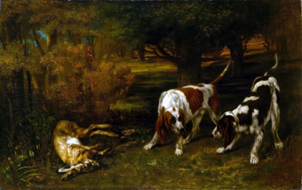 Hunting Dogs with Dead Hare 1857