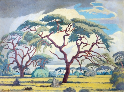 Bushveld Scene with Trees and Anthills
