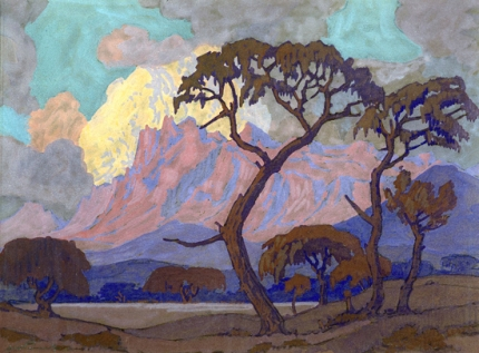 Thorn Trees in Mountain landscape at Dusk