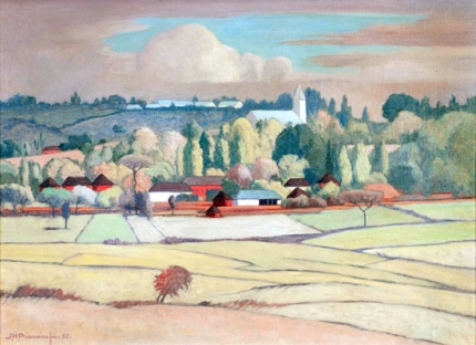 Landscape with Ploughed Fields, a Village Beyond