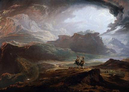 丘の上から近づくノーサンブリア軍を眺めるマクベス