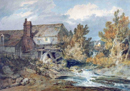 Watermill near a Flowing Brook