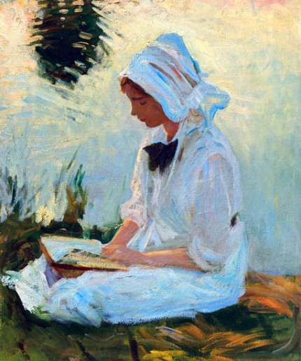 Girl Reading By a Stream 1888
