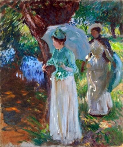Two Girls With Parasols at Fladbury 1889