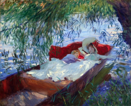 Lady and Child asleep In a Punt Under the Willows 1887