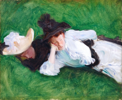 Two Girls on a Lawn 1889