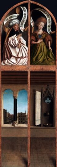 14-15. The Ghent Altarpiece closed Interior with City View and Lavabo