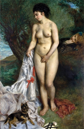 Bather with a Griffon Dog - Lise on the Bank of the Seine