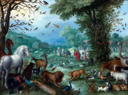 Paradise Landscape With The Animals Entering Noah's Ark