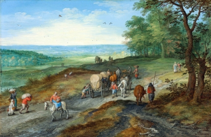 A Panoramic Landscape With A Covered Wagon And Travelers On A Highway