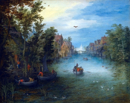 A River Running Through A Small Town, With A Cattle Ferry On The Water And Rowing Boats Setting Off From The Left Bank