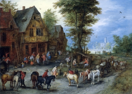 A Village Landscape With Horses, Carts And Figures Before Cottages