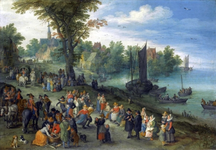 The Edge Of A Village With Figures Dancing On The Bank Of A River And A Fish