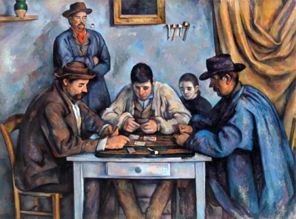 カード遊びをする人々